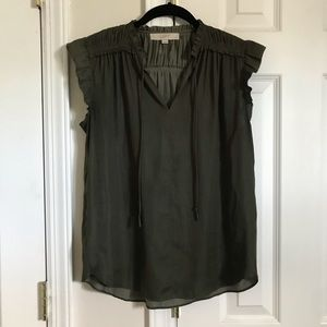 LOFT Olive Green Gathered Top